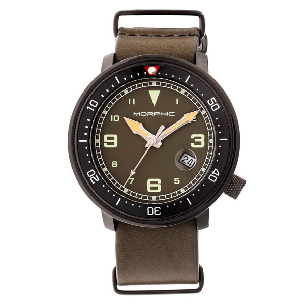 Morphic Gents M58 Series Watch on Leather Nato Strap Green