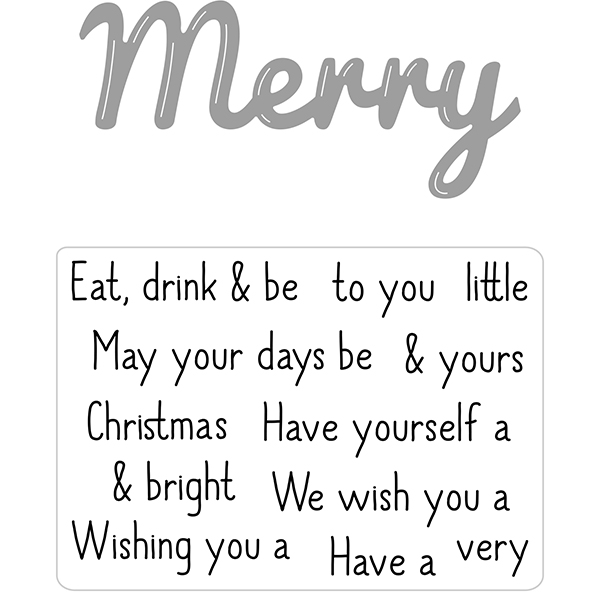 Hunkydory Moonstone Combos Festive Words Die and Stamps Set - Merry No Colour
