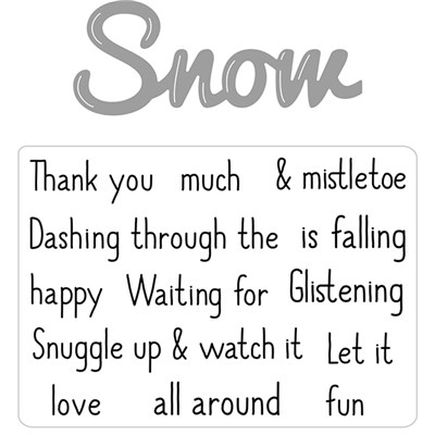 Hunkydory Moonstone Combos Festive Words Die and Stamps Set - Snow