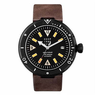 CCCP Gents Kashalot Automatic Date Watch with Genuine Leather Strap
