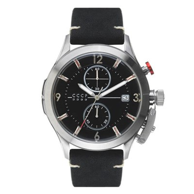 CCCP Gents Shchuka Chronograph Date Watch with Genuine Leather Strap