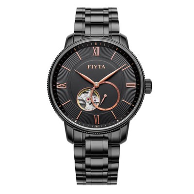 Fiyta Gents Photographer Automatic Watch with Black Stainless Steel Bracelet