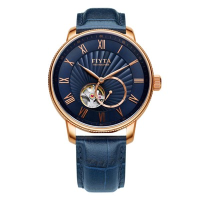 Fiyta Gents Photographer Automatic Watch with Blue Genuine Leather Strap