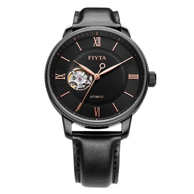 Fiyta Gents Photographer Automatic Black Dial with Genuine Leather Strap