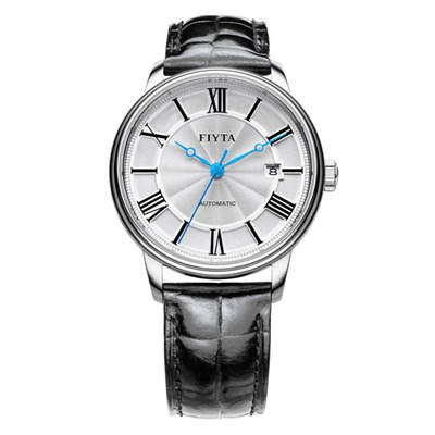 Fiyta Gents Classic Automatic Silver Dial Watch with Genuine Leather Strap