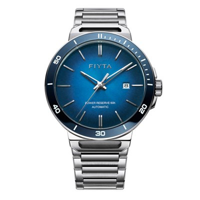 Fiyta Gents Solo Automatic Blue Sapphire Dial Watch with Stainless Steel Bracelet