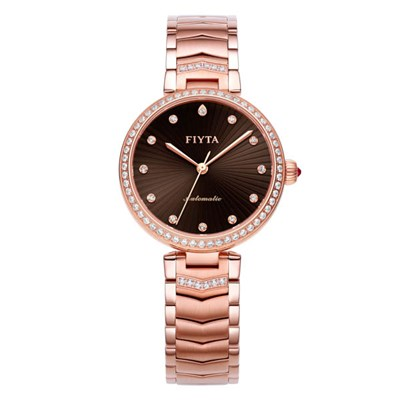 Fiyta Ladies Heart Touching Automatic Rose Gold Watch with Stainless Steel Bracelet