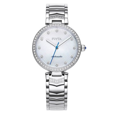 Fiyta Ladies Heart Touching Automatic Silver Watch with Stainless Steel Bracelet