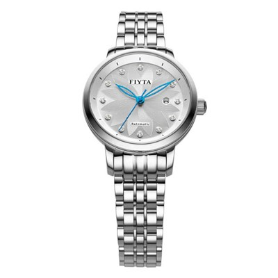 Fiyta Ladies Floriography Automatic Diamond Silver Dial Watch wtith Stainless Steel Bracelet