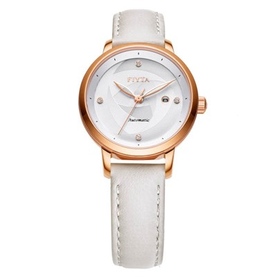 Fiyta Ladies Floriography Classic Automatic Watch with Genuine Leather Strap