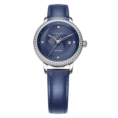Fiyta Ladies Blue Automatic Watch with Genuine Leather Strap