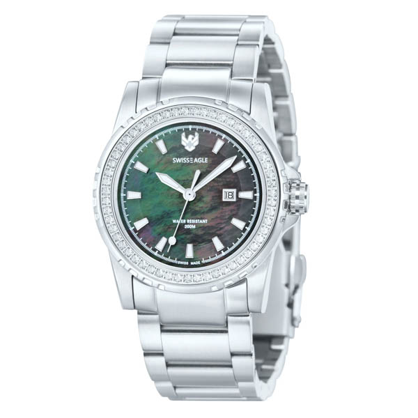 Swiss Eagle Ladies Battalion Date Watch with Stainless Steel Bracelet Silver