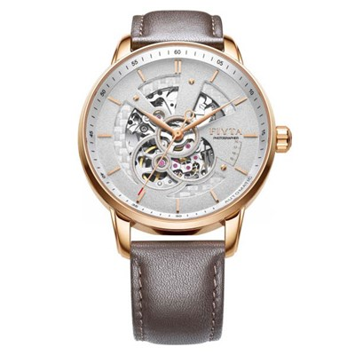 Fiyta Gents Photographer Skeleton Automatic Watch with Genuine Leather Strap
