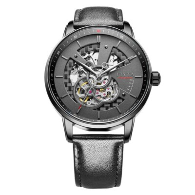 Fiyta Gents Photographer Black Skeleton Automatic Watch with Genuine Leather Strap