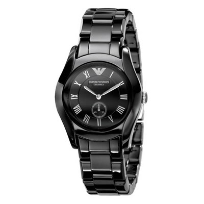 Emporio Armani Ladies AR1402 Watch with Black Stainless Steel Bracelet