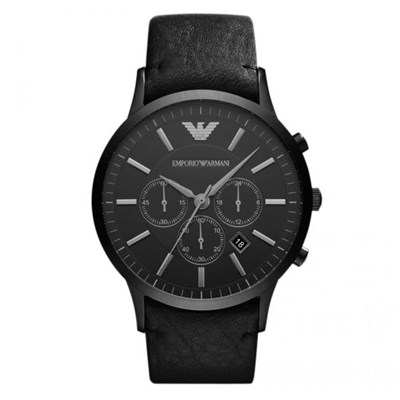 Emporio Armani Gents AR2461 Chronograph Date Watch Genuine Leather Strap