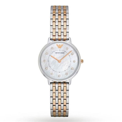 Emporio Armani Ladies AR2508 Classic Two Tone Watch on Stainless Steel Bracelet