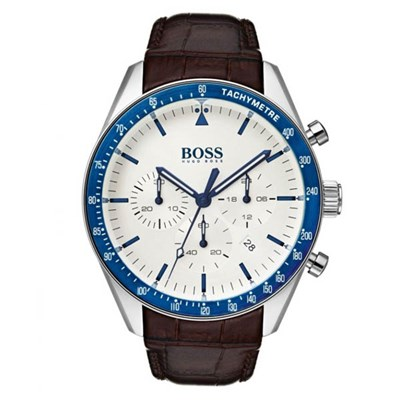 Hugo Boss Gents 1513629 Chronograph Watch Genuine Leather Strap