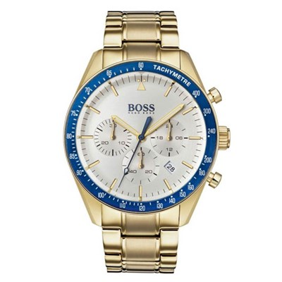 Hugo Boss Gents 1513631 Trophy Gold Plated Chronograph Watch on Stainless Steel Bracelet