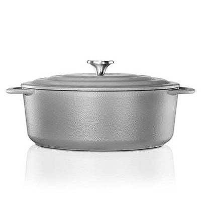 Vlileroy and Boch CW0464 Cast Iron Oval Casserole 29cm Dish, Self-Basting Lid for Hobs and Ovens - Grey