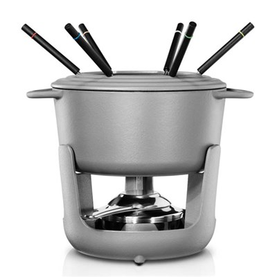Villeroy and Boch CW0623 Cast Iron Fondue Set for Cheese, Meat, Chocolate and Broth with 6 Fondue Forks