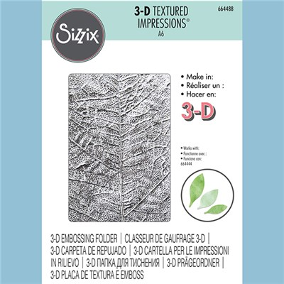Sizzix 3-D Textured Impressions Embossing Folder Leaf Veins