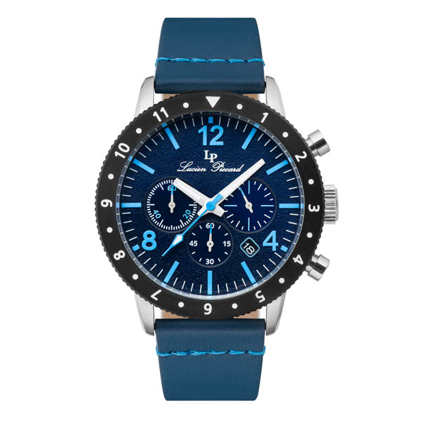 Lucien Piccard Hudson Watch with Genuine Leather Strap Blue