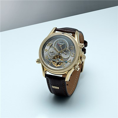 PortaS Multifunction Open Heart Watch with Genuine Leather Strap