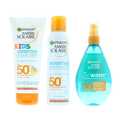 Ambre Solaire Family Staycation 3pc Set (SPF 50+ Kids, SPF 50+ Mist, SPF 30 Water Spray)