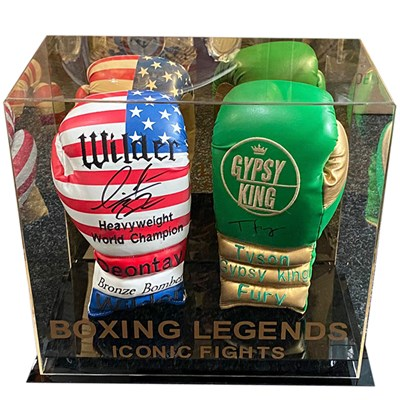Deontay Wilder and Tyson Fury Branded Pair of Signed Boxing Gloves in Display Case