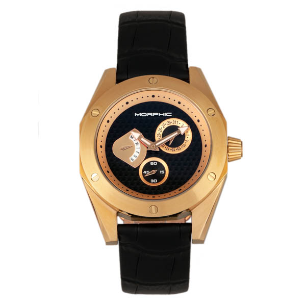 Morphic Gents M46 Series Watch on Genuine Leather Strap Gold