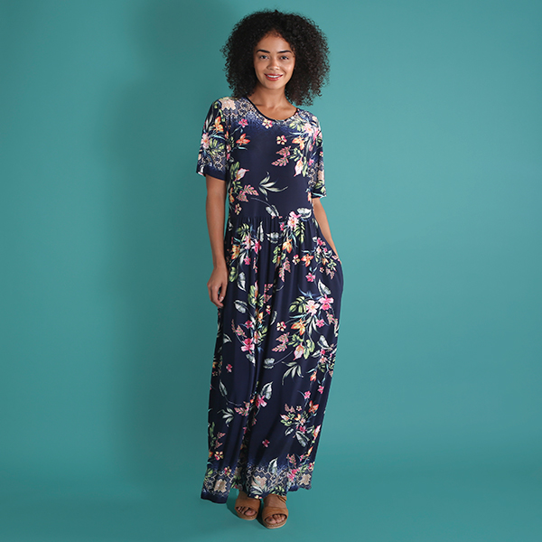 Kasara Print Maxi Dress with Pockets Navy Floral