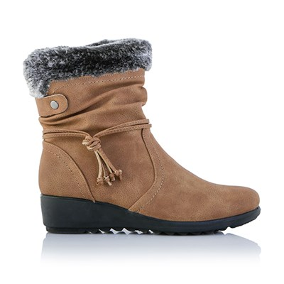 Cushion Walk Faux Fur Trim Ankle Boot