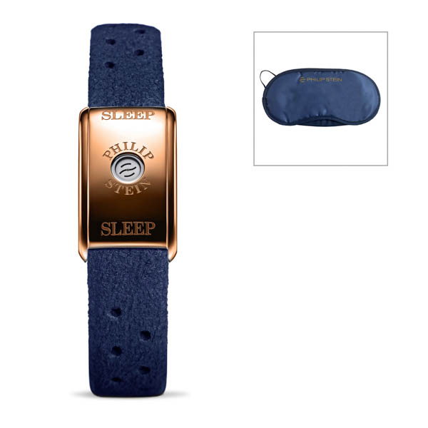 Philip Stein Classic Sleep Bracelet Rose Gold Case + Free Eye Mask Sea Blue