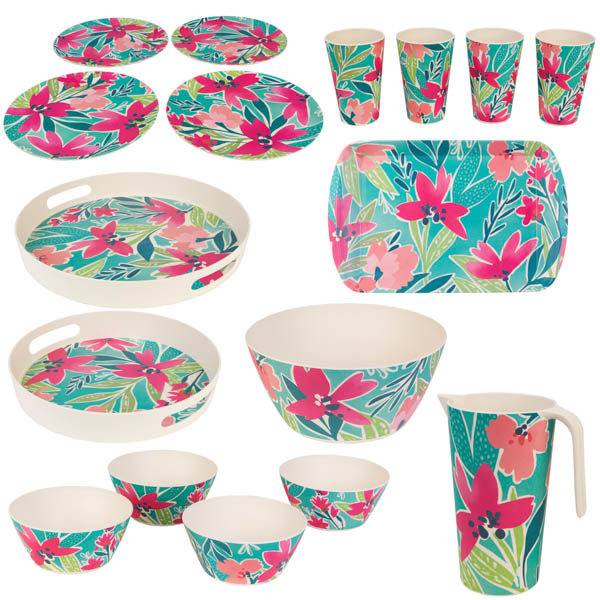 Cambridge Lightweight Reusable Tableware Set, Dinnerware Set, 4 Place Setting - Evie Print No Colour