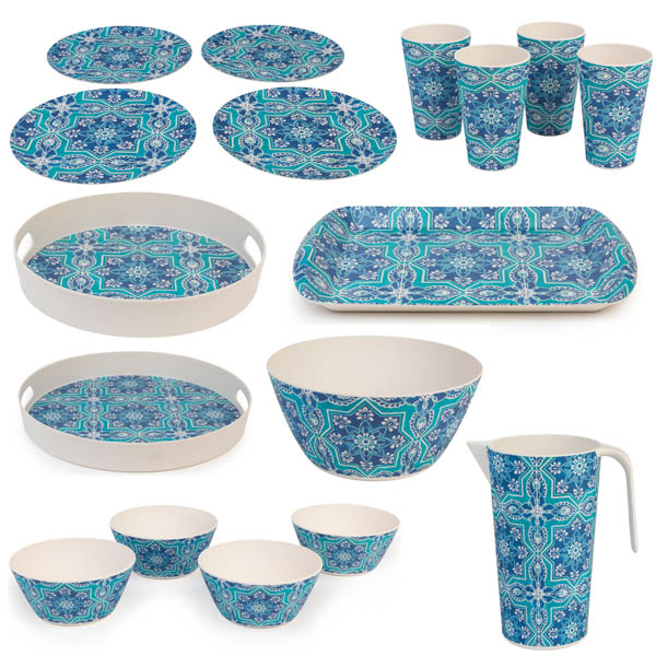 Cambridge Lightweight Reusable Tableware Set, Dinnerware Set, 4 Place Setting - St Tropez Print No Colour