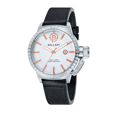 Ballast Gents Trafalgar Machined Automatic Watch with Genuine Leather Strap