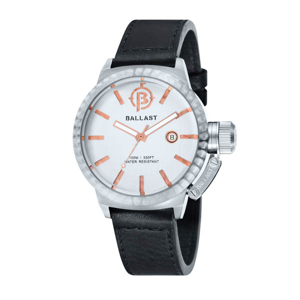 Ballast Gents Trafalgar Machined Automatic Watch with Genuine Leather Strap White