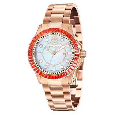 Ballast Ladies Vanguard IP MOP Watch with Stainless Steel Bracelet