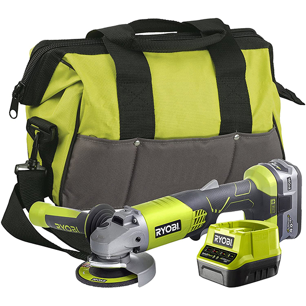 Ryobi One+ Cordless Angle Grinder, 4.0Ah Battery, Charger and Tool Bag No Colour