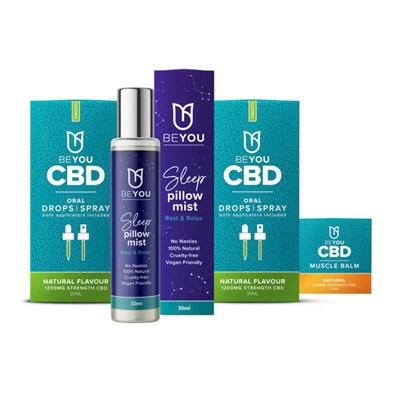 BeYou Natural CBD Bundle - 2 x Oral Sprays, Muscle Balm and Sleep Mist