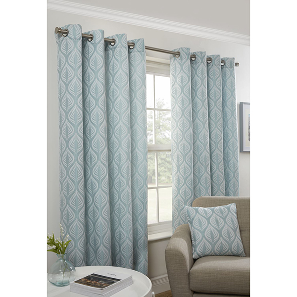 Kew Jacquard Eyelet Curtains - 90 Inches Duck Egg