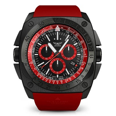 Aviator Gents Ltd Ed Mig 29 Chronograph DLC Plated Watch with Silicone Strap