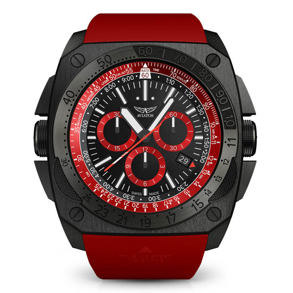 Image of Aviator Gents Ltd Ed Mig 29 Chronograph DLC Plated Watch with Silicone Strap