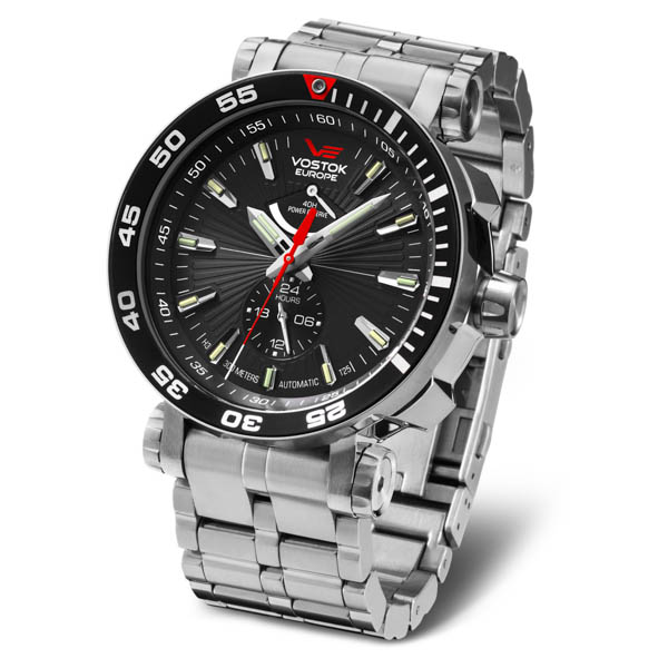 Vostok Europe Energia Rocket Power Reserve Watch Stainless Steel Bracelet & Large Dry Collectors Box Black