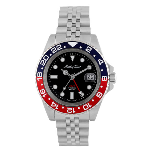 Mathey Tissot Gents Swiss Quartz GMT Rolly Stainless Steel Case Watch with Stainless Steel Bracelet Blue/Red