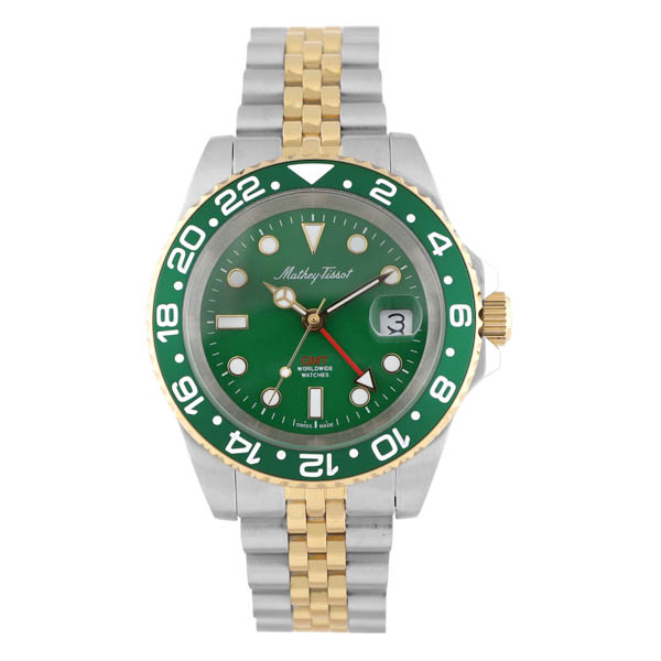 Mathey Tissot Gent's Swiss Quartz GMT Rolly Stainless Steel Case with PVD Two Tone Stainless Steel Bracelet Green