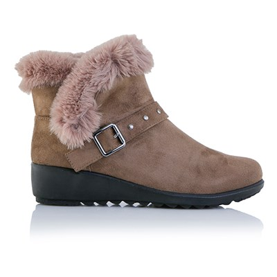 Cushion Walk Faux Fur Trim Suedette Ankle Boots