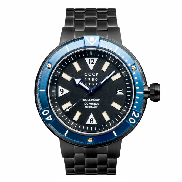 Image of CCP Gents Kashalot Submarine Automatic Date Watch with Stainless Steel Bracelet