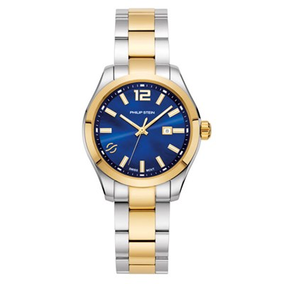 Philip Stein Ladies Mother of Pearl 36mm Traveler Watch with Blue Dial